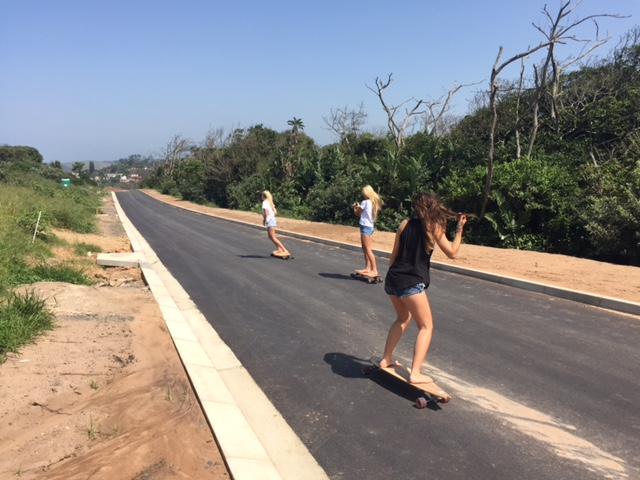 Skateboarders at BCRs new 900 metres of tar road